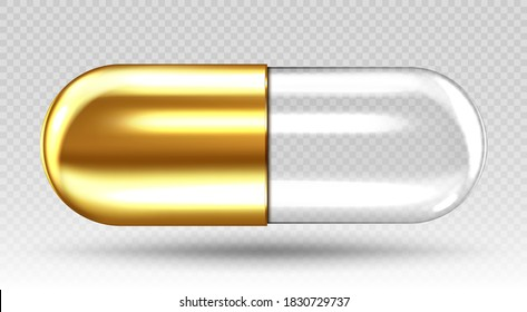 Golden transparent medical capsule isolated on transparent background. Vector realistic illustration