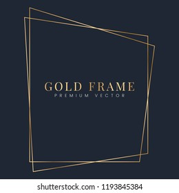 Golden trapezoid frame template vector