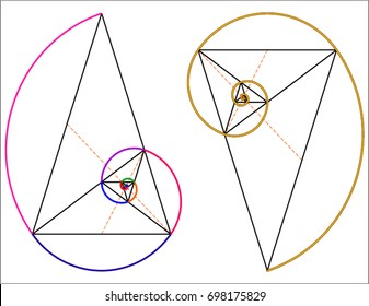 Golden triangles inscribed in a logarithmic spiral
