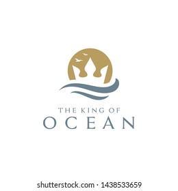 Golden Trident Crown with Sea Wave logo design