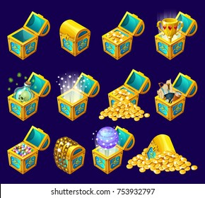 Golden trophies in glowing chests. Set for computer game on black background. Isolated vector illustration