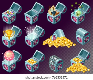 Golden trophies in glowing chests. Set for web games. Isolated vector illustration  Prize in levels.