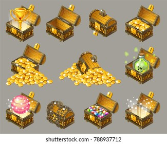 Golden trophies in glowing chests. Set for computer game. Isolated vector illustration.