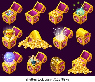 Golden trophies in isometric chests. Set treasure for computer game on dark background. Isolated vector illustration.