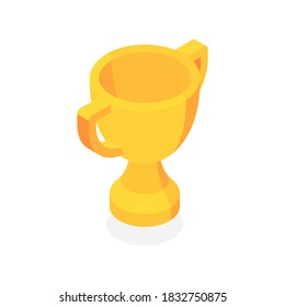 Golden trophy cup. First place. Flat 3d vector isometric illustration isolated on white background.