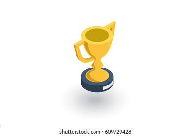 Golden trophy Cup isometric flat icon. 3d vector colorful illustration. Pictogram isolated on white background