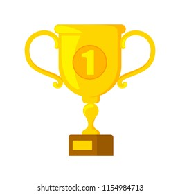 Golden trophy cup with number one on it. Sport game champion award. Idea of victory and success. Isolated flat vector illustration