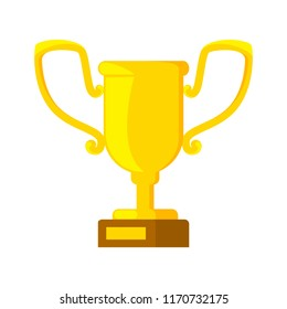Golden trophy cup. Sport game champion award. Idea of victory and success. Isolated flat vector illustration