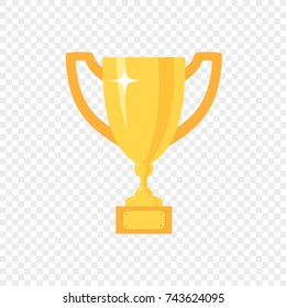 Golden trophy cup, vector icon on transparent background. First place  championship prize.