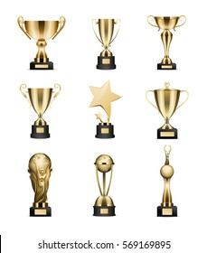 Golden trophy cups collection isolated on white. Trophy deep round cups with and without lids, award in shape of star and planet hold by people. Vector poster of best competition achievements