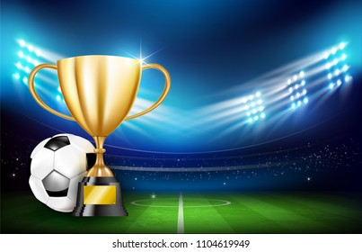 Golden trophy cups and Soccer ball football stadium greeen grass field with spot light at night time vector illustration, with copy space