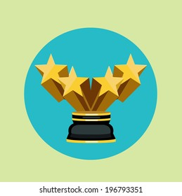 golden trophy with four stars flat icon vector