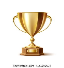 Golden trophy, gold cup award. 3d First place winner, champion reward, sport prize, victory and business success, leadership and achievement symbol. Realistic vector illustration isolated