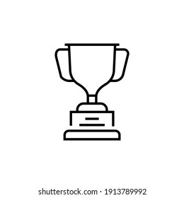 Golden trophy icon. Victory vector illustration. Isolated contour of triumph on white background. Editable stroke