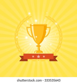 Golden Trophy with red ribbon and wreath in yellow background in flat icon design vector