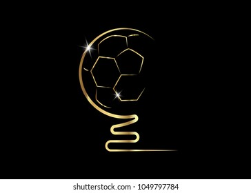 Golden trophy soccer ball icon, vector prize abstract football icon isolated or black background