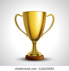 Golden Trophy with text space, Vector Illustration