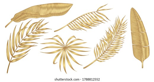 Golden tropical leaves on white background. Elegant exotic decoration  for cosmetics, spa, perfume, health care products,  tourist agency, summer party invitation, aroma.