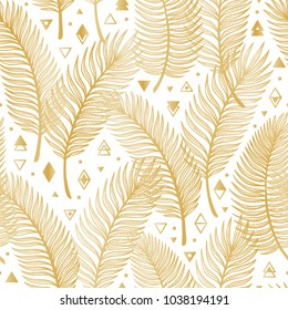 Golden Tropical Palm Tree Leaves with Geometric Shapes Vector Seamless Pattern. Palm Leaf Sketch with triangles, rhombuses and circles. Summer Floral Background. Tropical Plants Wallpaper