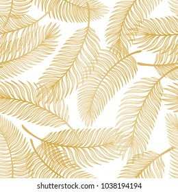 Golden Tropical Palm Tree Leaves Vector Seamless Pattern. Palm Leaf Sketch. Summer Floral Background. Tropical Plants Wallpaper