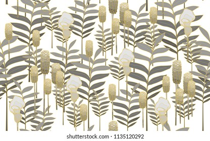 Golden tumeric leaves and flowers. Big leaves and exotic flowers composition. Vector illustration. Botanical seamless wallpaper. Digital nature art. Cartoon style sketch. White background.