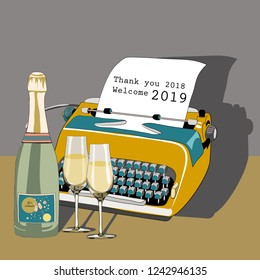 Golden typewriter with bottle of champagne and glasses. Pour feliciter 2019. Vector illustration on grey background