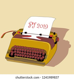 Golden typewriter with paper with PF 2019. Vector illustration on yellow background
