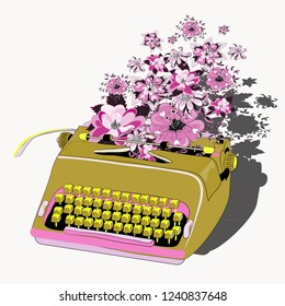 Golden typewriter with pink and purple flowers. Vector illustration on white background