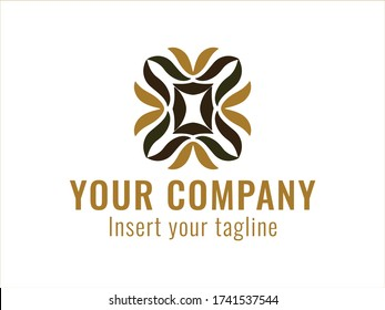golden vector and abstract logo for commercial use.