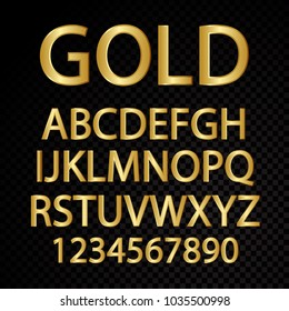 Golden vector alphabetical letters and numbers isolated on black background