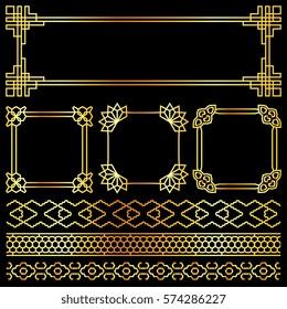 Golden vector asian, korean, chinese, japanese retro frames. Illuustration of golden decor