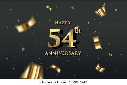 Golden vector background, with the word 54th anniversary. elegant and luxurious design, can be used for congratulations and so on.