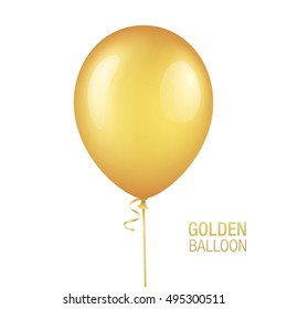 Golden vector balloon, isolated on white background. Realistic balloon illustration for party, celebration, festival or birthday design decoration.