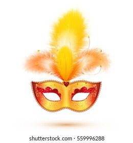 Golden vector carnival mask with yellow and orange feathers, Mardi Gras illustration isolated on white background