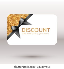 Golden vector discount card with black ribbon and bow