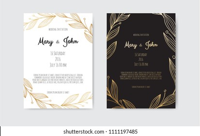 Golden Vector invitation with floral elements. Luxury ornament template