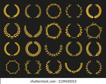 Golden vector laurel wreaths on black background. Set of foliate award wreath for cinema festival.Vector illustration.