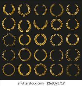 Golden vector laurel wreaths on black background. Set of foliate award wreath for film festival poster.Vector illustration.