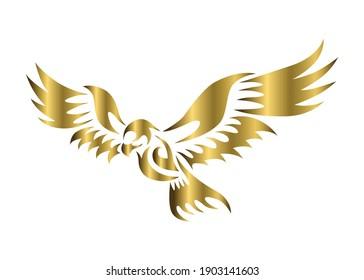 golden vector logo of hawk that is flying.