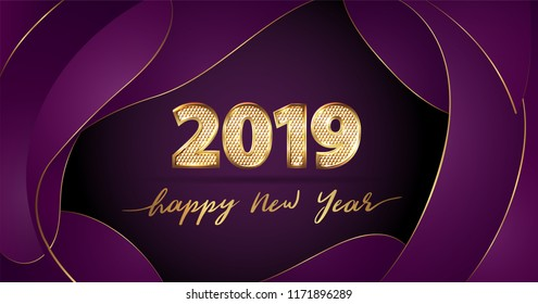 Golden Vector luxury text 2019 Happy new year. Gold Festive Numbers Design with diamonds texture. Gold shining. Happy New Year Banner with 2019 Numbers for greeting card, calendar 2019. Fluid shapes