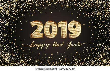 Golden Vector luxury text 2019 Happy new year. Gold Festive Numbers Design, diamonds texture. Gold shining glitter confetti. Happy New Year Banner with 2019 Numbers for greeting card, calendar 2019.