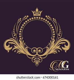 Golden vector monogram. Flourishes calligraphic elegant vintage elements. The past. Elegant emblem logo for restaurants, hotels, and bars. It can be used to design invitations, booklets and brochures
