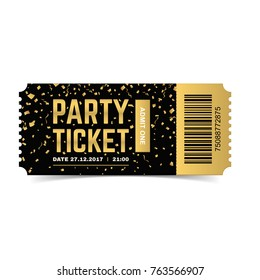 Golden vector party ticket. Realistic 3d design with gold confetti.