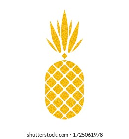 Golden vector pineapple on white background. Pineapple geometric icon. Tropical fruit, isolated on white background. Gold glitter ananas. Summer fruit trendy illustration. Vector illustration