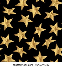 Golden vector punk star studs seamless pattern on black background.