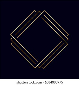 Golden vector sketch of a tattoo set geometric shape, triangle, polygonal line art, line shape, rhombus and square.