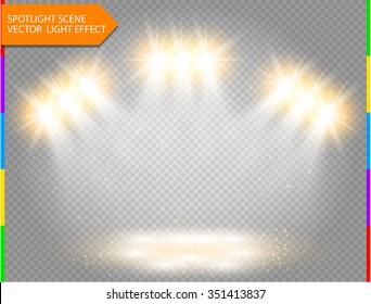 Golden vector spotlight with spark. Light effect on transparent background. Concert scene with star dust illuminated by ray. Glow projector.