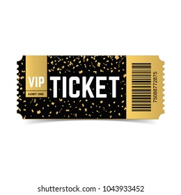 Golden vector vip ticket. Realistic 3d design with gold confetti on white background. Concert, cinema, movie, party, event, dance, festival premium collection.