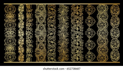 Golden vertical borders collection. Floral gold royal clipart for wedding design, menu and other