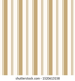 Golden vertical stripes pattern. Simple vector seamless texture with thin and thick lines. Modern abstract gold and white geometric striped background. Repeat design for tileable print, wallpapers